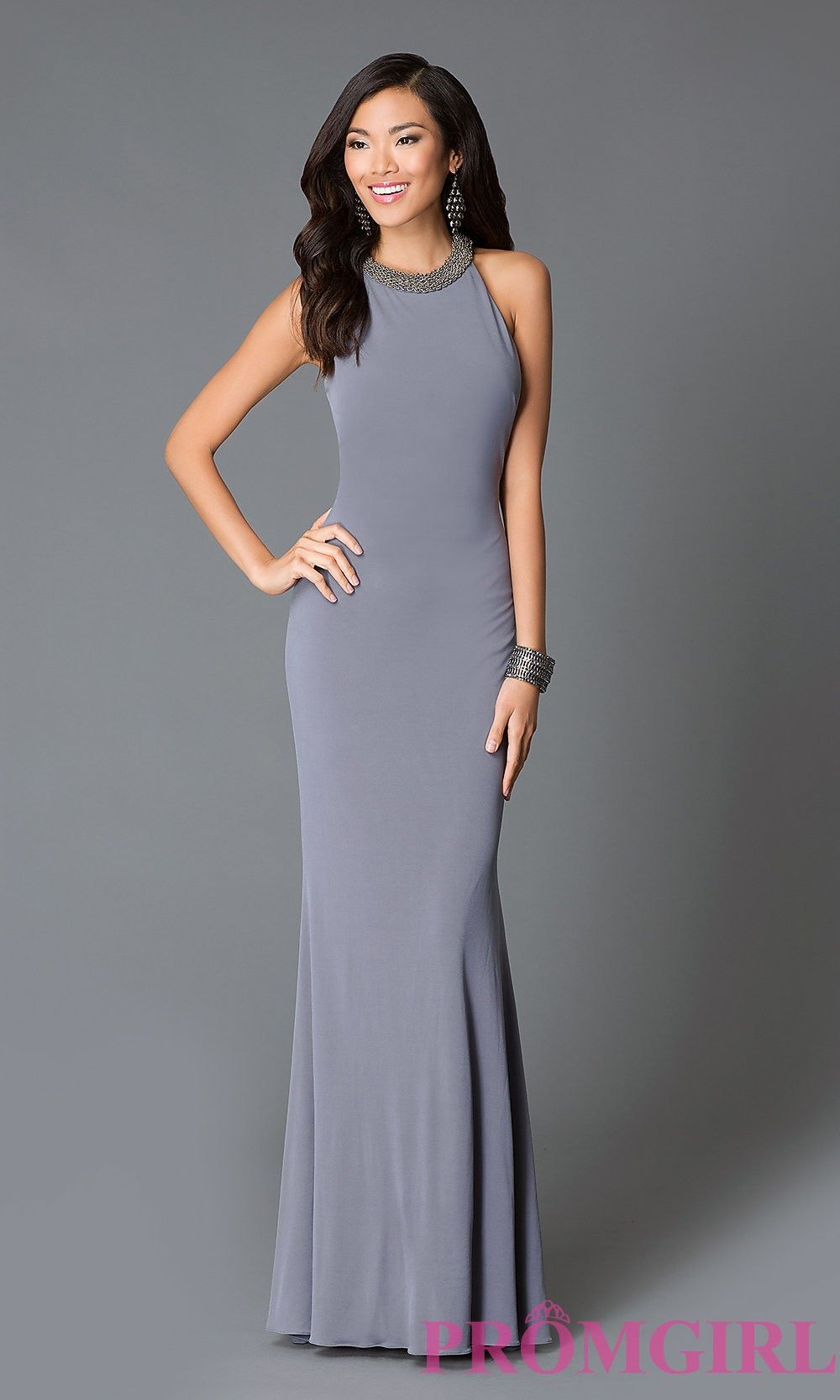 Long high neck sheer back prom dress from jvn by jovani