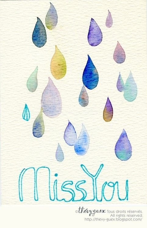 Aquarelle Originale Bleu Pastel Miss You Message Anglais Etsy