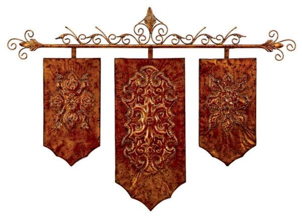 Copper finish medieval banner wall art new copper for Medieval decor