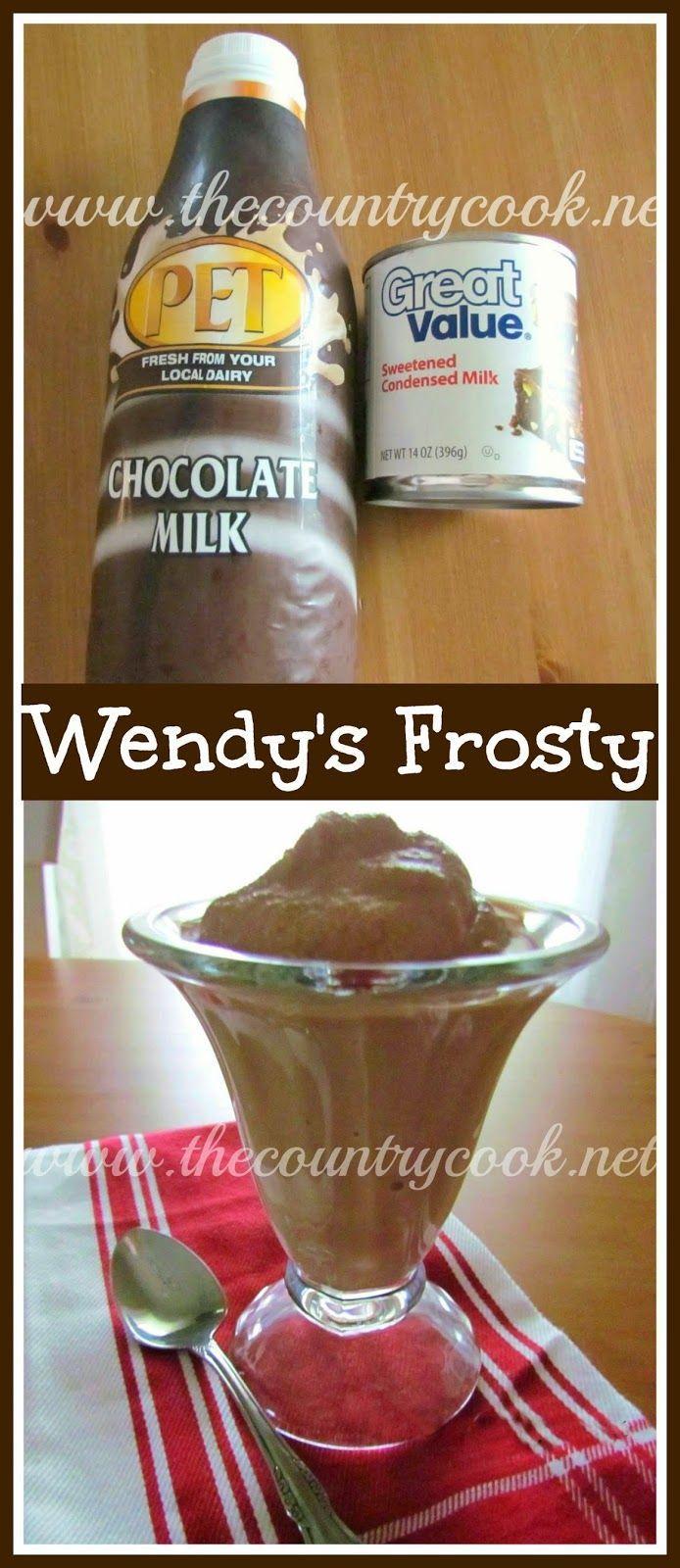 Copycat Wendy's Chocolate Frosty #chocolatefrosty The Country Cook: Copycat Wendy's Chocolate Frosty #chocolatefrosty