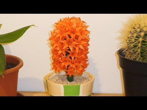 Origami-Hyazinthe, Bauanleitung (Origami flower hyacinth) - YouTube
