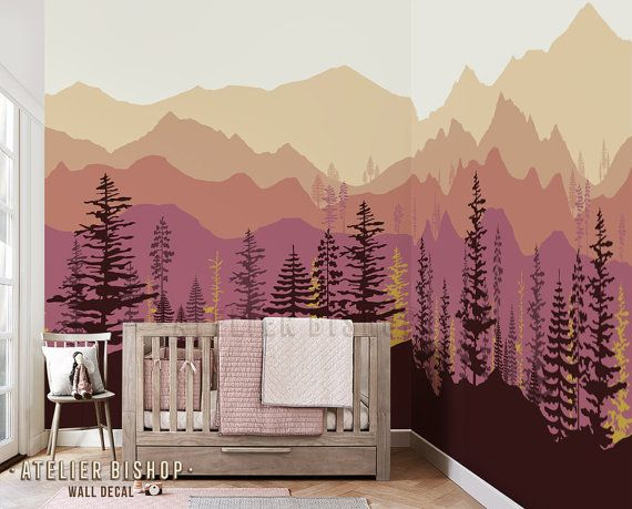 Instant Wallpaper Ombre Mountain Pine Tree Forest By