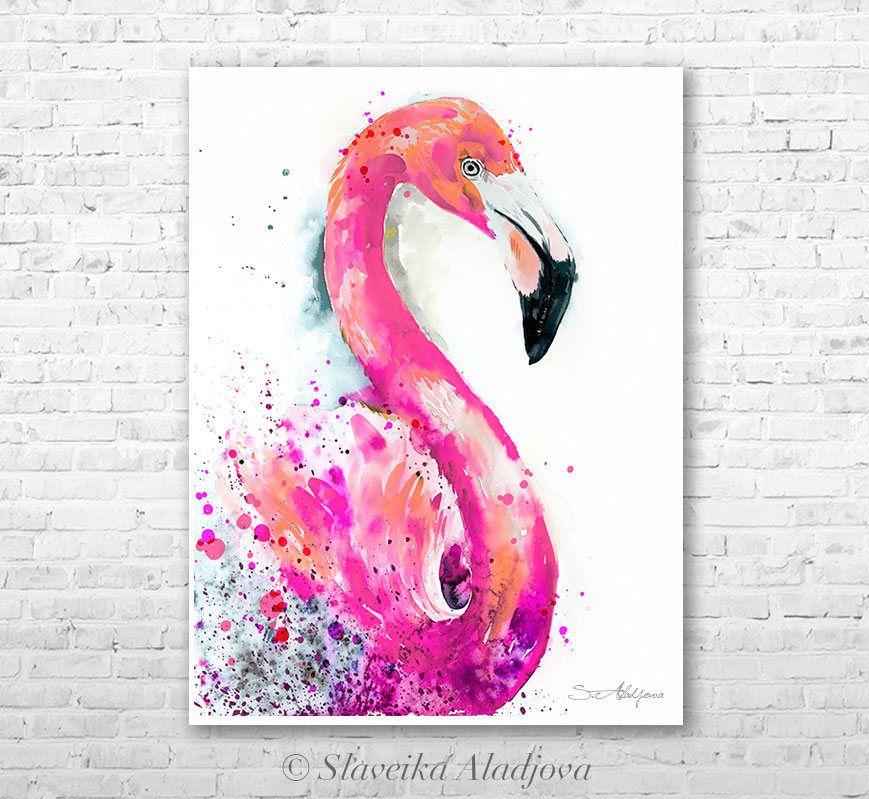Pink Flamingo Watercolor Painting Print By Slaveika Aladjova Art