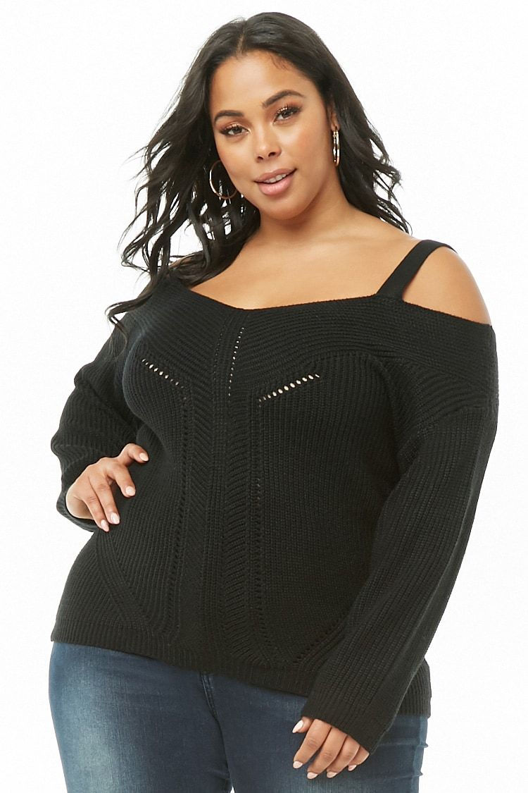 d0c6ba075e Plus Size Open-Shoulder Sweater