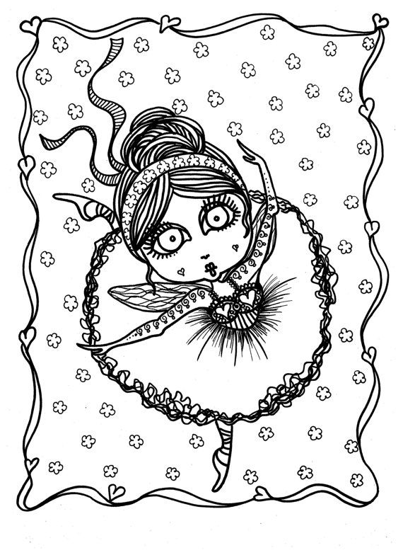 5 pages Downloadable 5 pack bundle Coloring Pages Funky Fairy ...