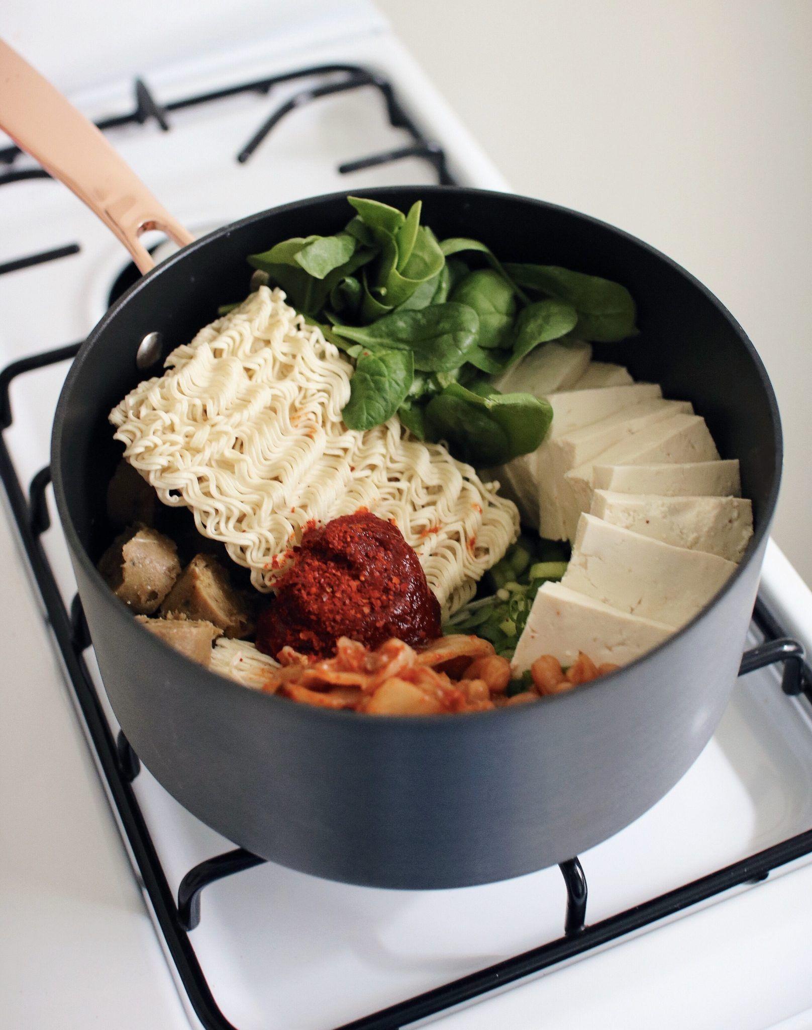 Vegan Budae Jjigae Recipe Korean Army Stew Berries Bliss Recipe Budae Jjigae Recipe Jjigae Recipe Vegan Korean Food