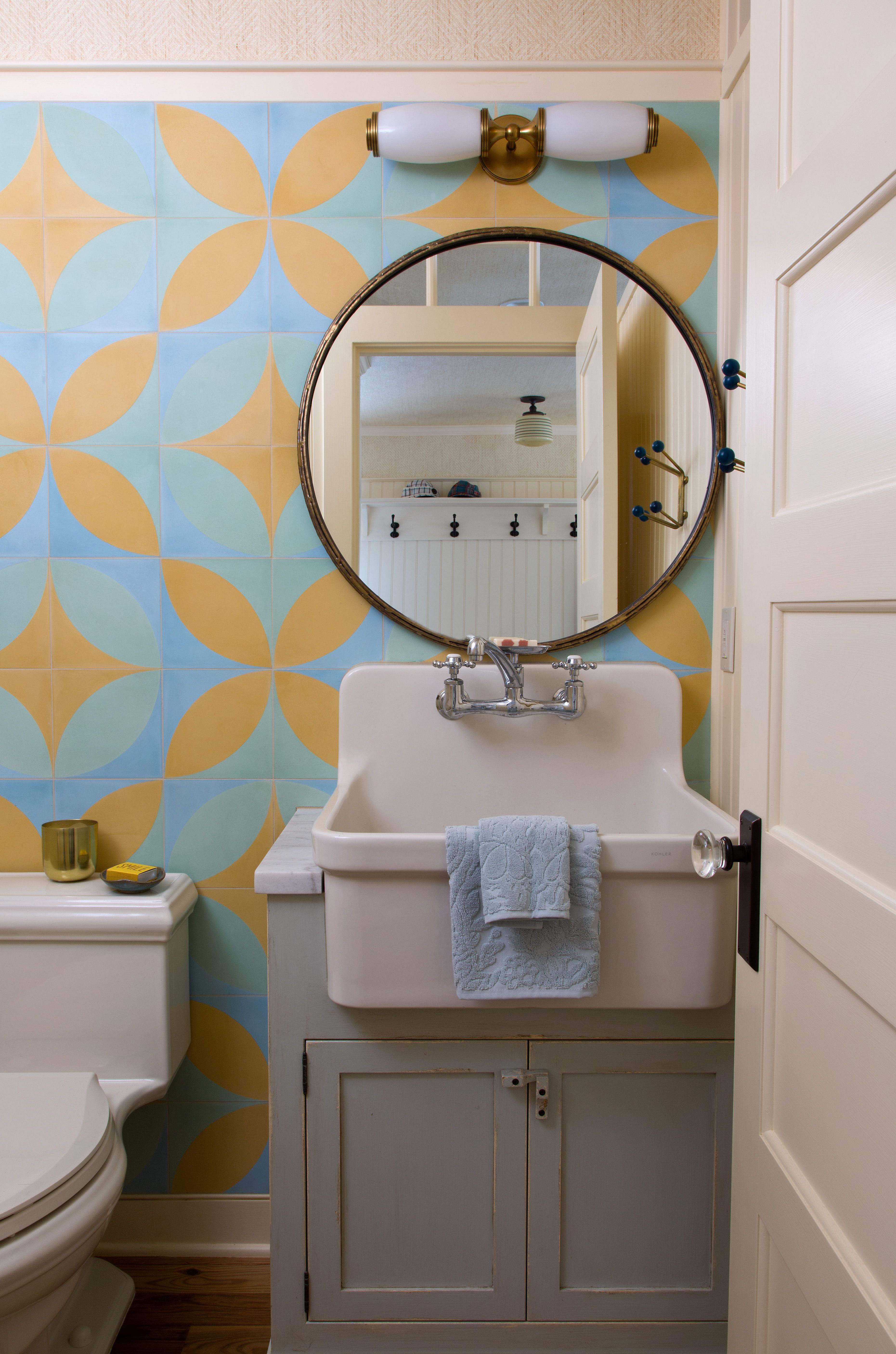 Eclectic Boho Mountain Home Powder Room by Andrea Schumacher