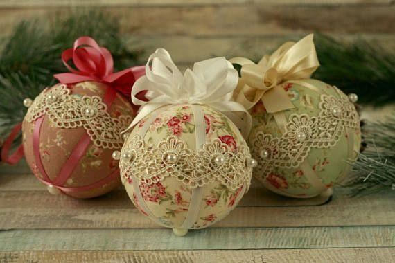 xmas baubles xmas decorations shabby chic ornaments shabbychicbedroomsdiy - Handmade Shabby Chic Christmas Decorations