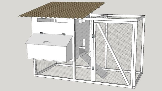 A simple chicken coop with 6 cubicles for accommodating 6 egg laying hens.