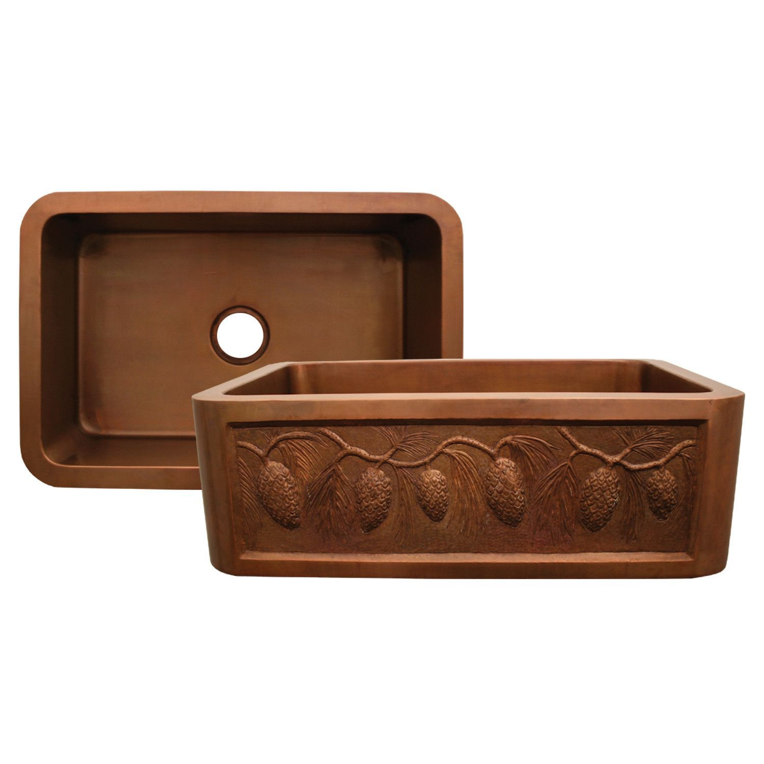 Belle Foret Farmhouse Sink Copperhaus Rectangular Undermount Sink With A Pine Cone Design