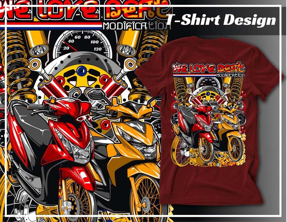 Desain Thailook Style Vector Honda Beat Desain Vektor Desain Kaos