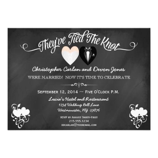 Post Wedding Party Invitation Wording: Post Wedding Trendy Chalkboard Invitation