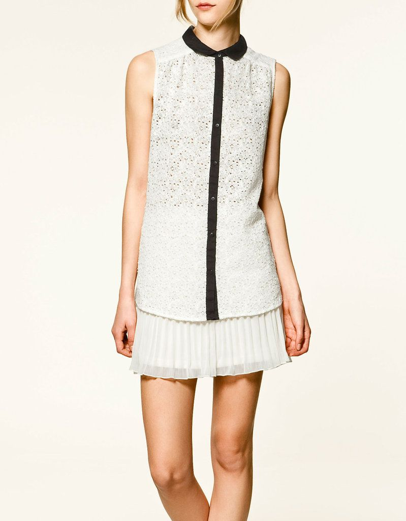 Contrast lace dress zara   Pretty Collared Blouses to Sweeten Up the Most Basic Outfits