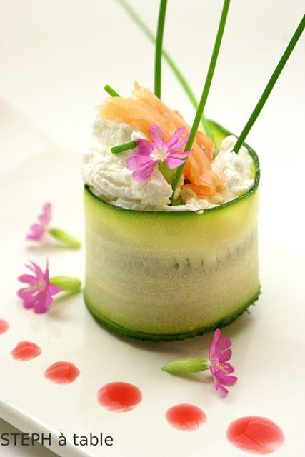Fraîcheur printanière : Maki de Courgette,fromage frais et saumon fumé   Stephatable