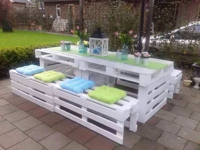 Table Palettes Blanche Et En Verre Palette Jardin Salon De