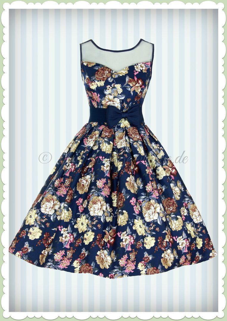 37a9992df2b3 Dolly   Dotty 50er Jahre Vintage Petticoat Blumen Kleid - Elisabeth - Navy