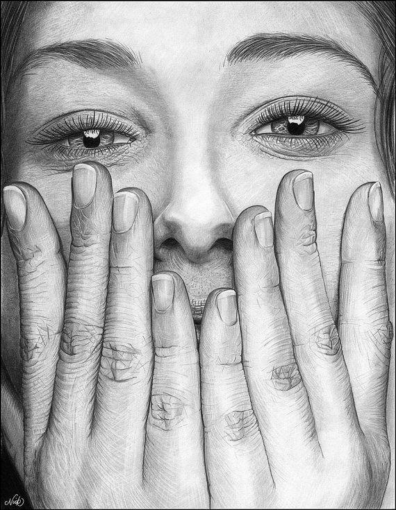 Hidden smile original pencil drawing by NicksPencilArt on Etsy, £149.00
