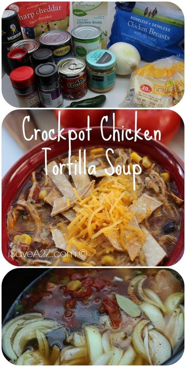 Crockpot Chicken Tortilla Soup #chickentortillasoup