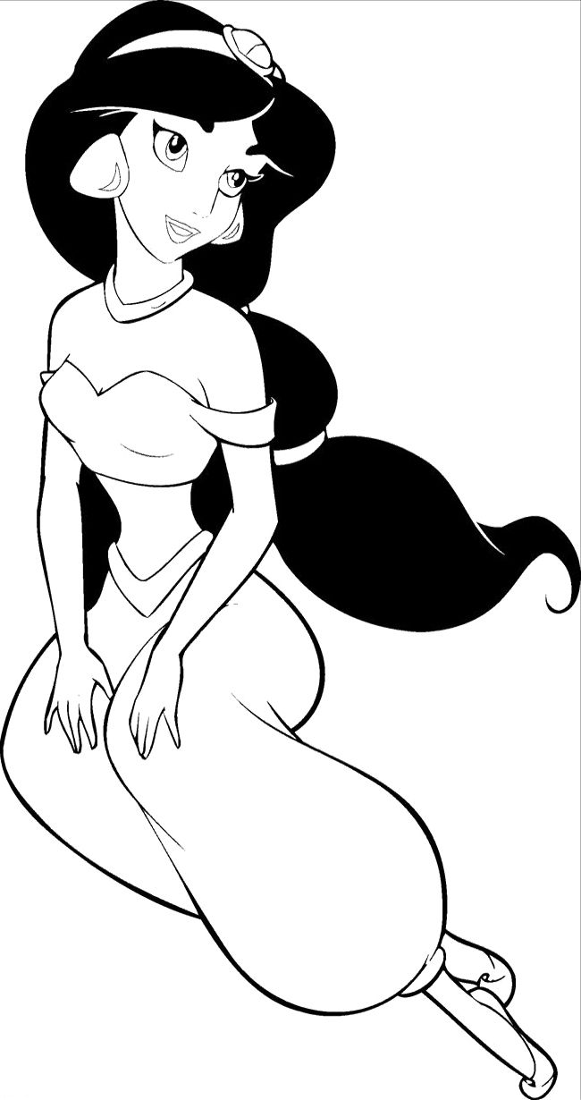 Princess jasmine coloring pages jasmine cartoon coloring pages