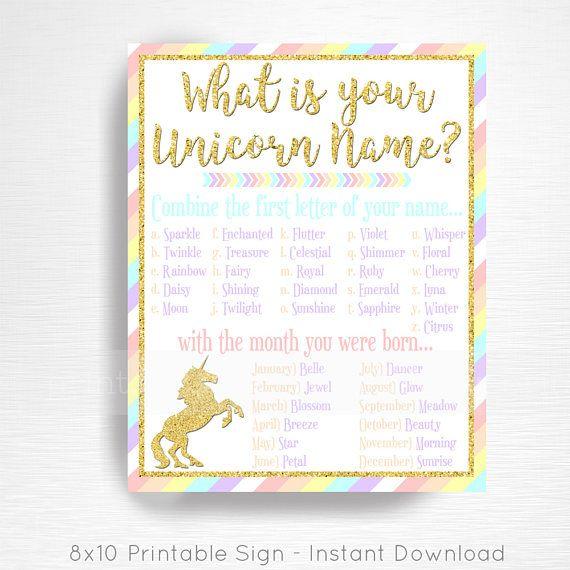 graphic regarding Free Unicorn Name Printable called Your Unicorn Popularity Unicorn Celebration Signal Pastel Rainbow Unicorn