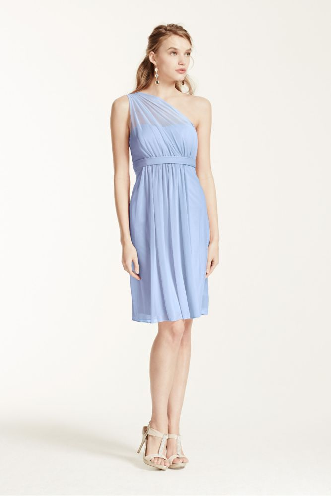 Mesh One Shoulder Short Bridesmaid Dress with Illusion Neck - Ice ...