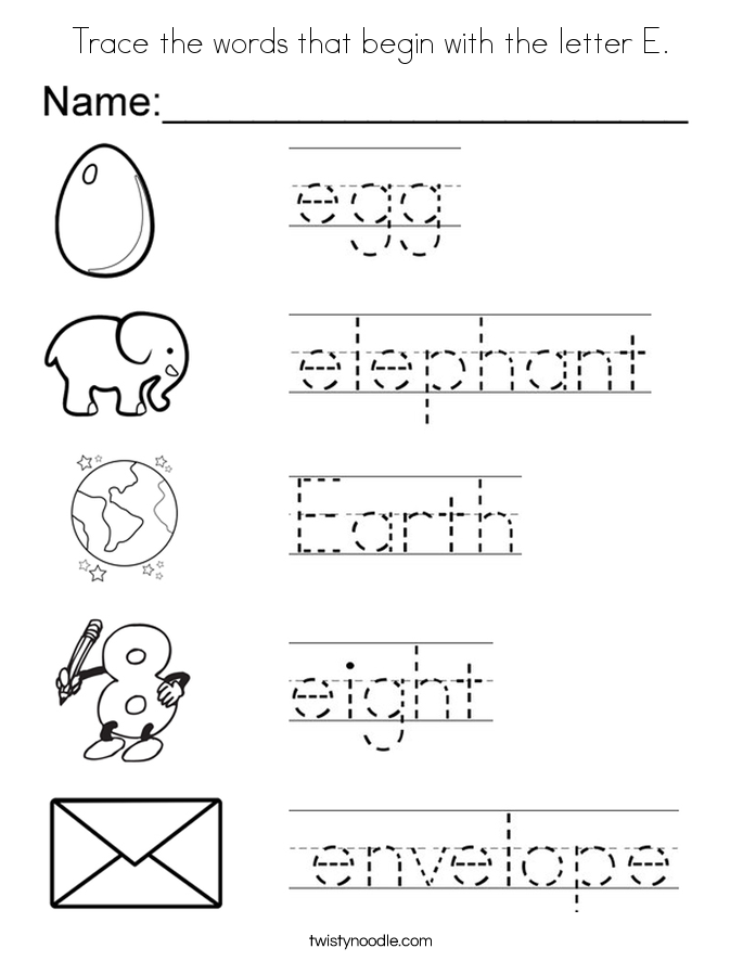 Modest Letter E Preschool Coloring Pages Coloring For