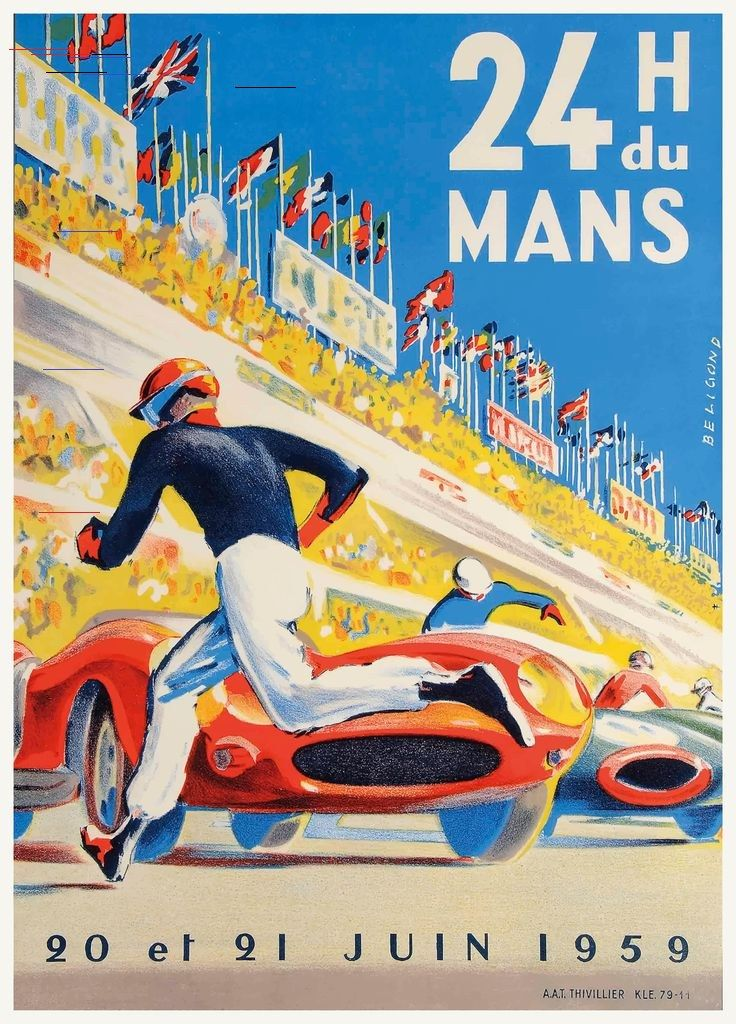 1959 24 Hours of Le Mans Race Poster i 2020 Grafisk