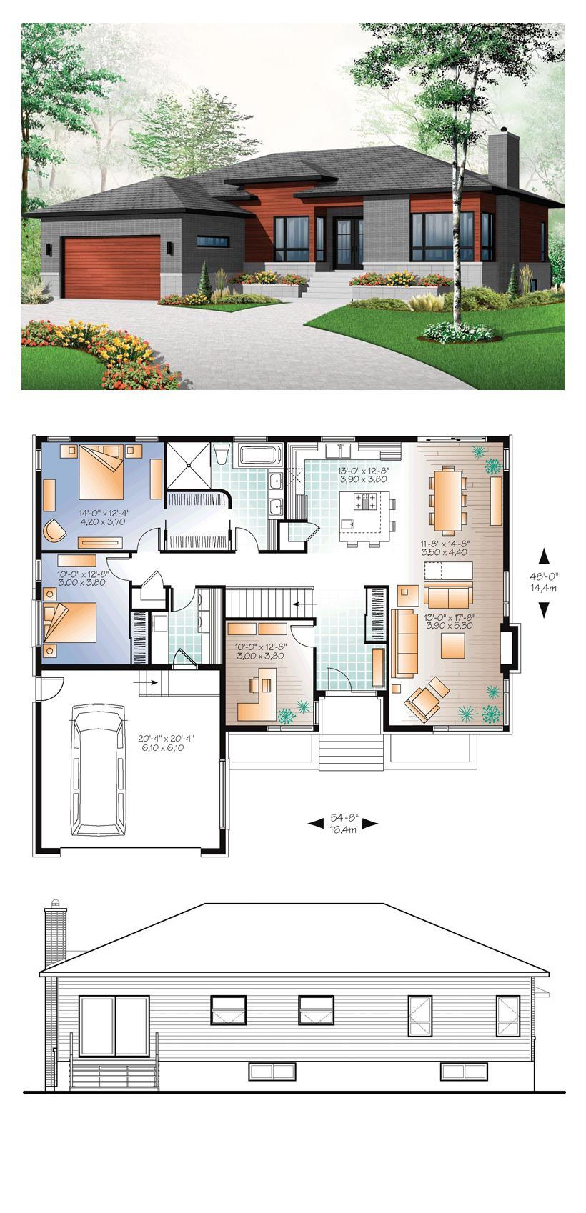 Modern Style House Plan With 3 Bed 1 Bath 2 Car In 2020 Modern Style House Plans House Blueprints Family House Plans
