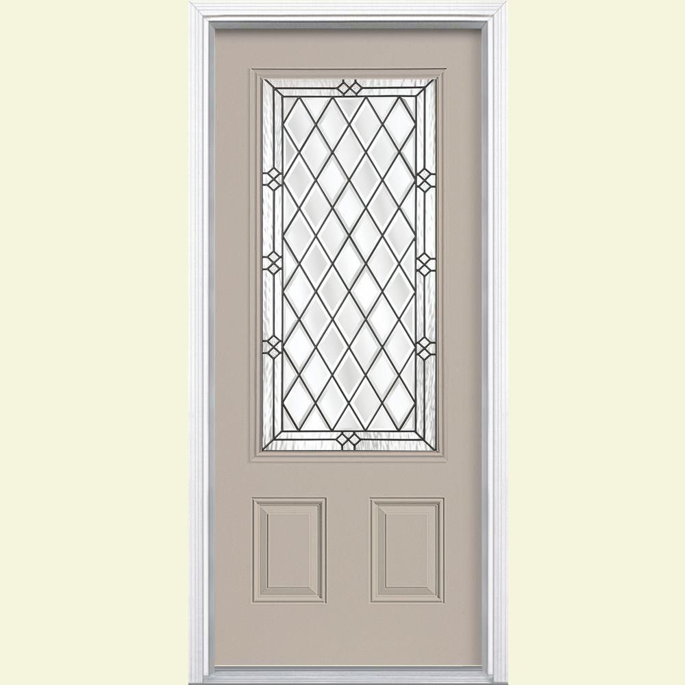 Masonite 36 In X 80 In Halifax 3 4 Rectangle Painted Steel Prehung Front Door With Brickmold C Fiberglass Entry Doors Steel Entry Doors Exterior Front Doors