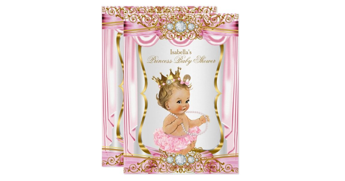 Elegant Princess Girl Baby Shower Pink Gold and White Silver Satin Silk Invitation With a Pink Bow. Gold Diamond gem Tiara Crown. Blonde Princess Girl Baby Shower. PLEASE NOTE all images are NOT Diamonds Jewels or real Bows!!