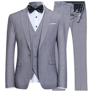 Herren Anzug Regular Fit Business Anzüge 3-Teilig Anzugjacke Anzughose  Weste Grau L 119d68ee5f