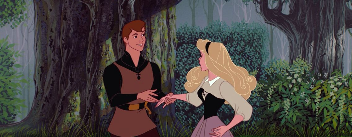 I'm sorry, I didn't mean to frighten you. Phillip and Aurora, Sleeping Beauty 1959 screencap