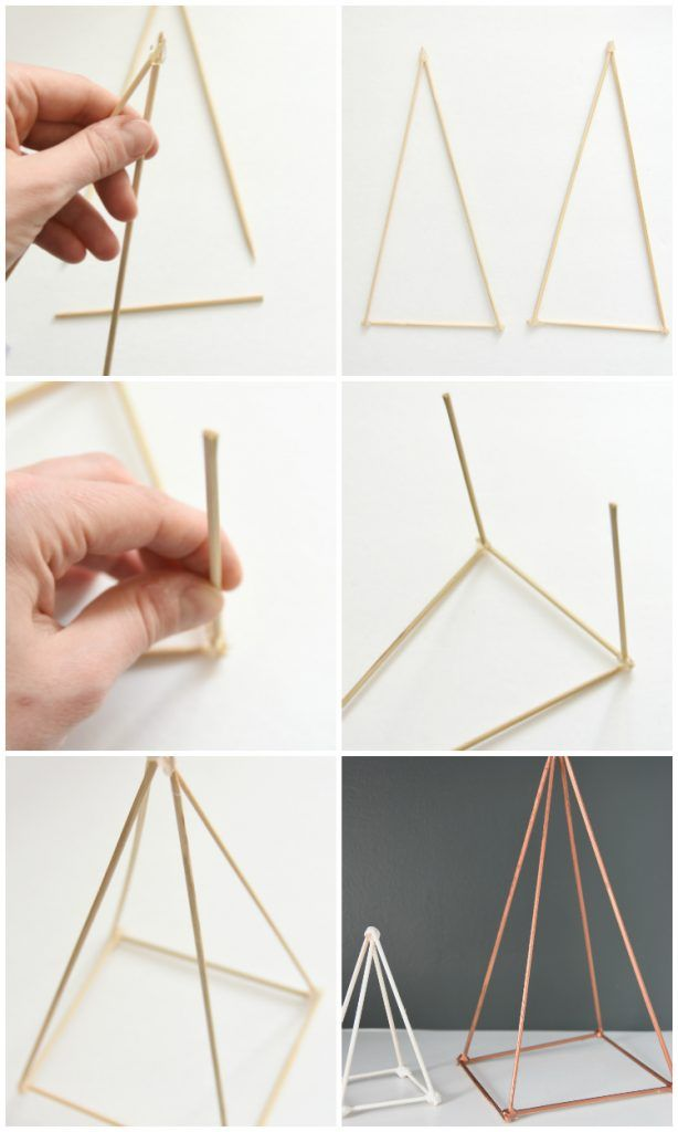 Style your Shelves with DIY Geometric Sculptures is part of Diy geometric decor - Make these gold and white DIY geometric sculptures using items from around your house  Get high end shelf accessories for WAY less!! Click for tutorial