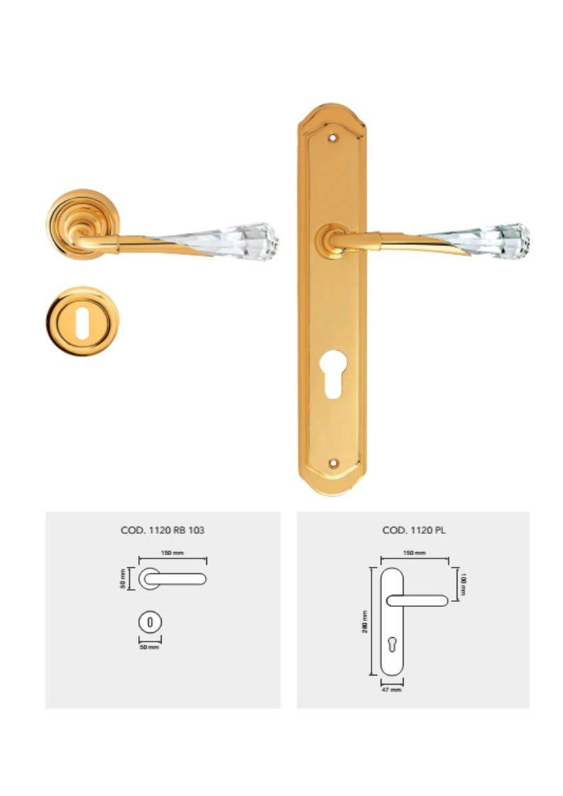 Gemma Modern Brass Door Handles With Swarovski Crystal Brass
