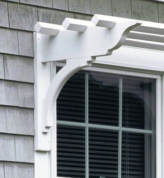 Shelf Style Bracket For Over Outdoor Windows I Could Do This Over The Side Door On The Driveway Maybe Train Window Pergolas House Exterior Window Trellises