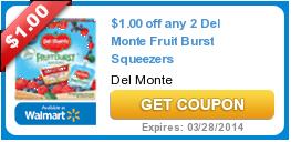 $1.00 off any 2 Del Monte Fruit Burst Squeezers