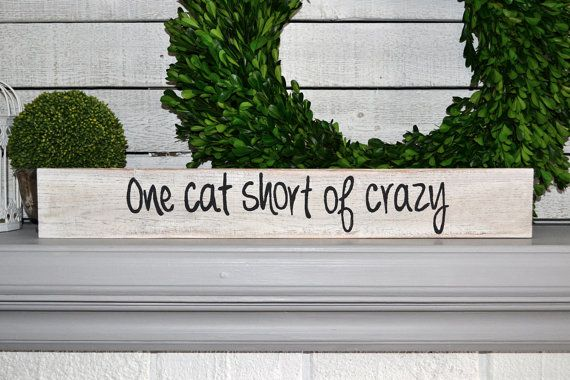 one cat short of crazy handpainted distressed by blissfulpickens
