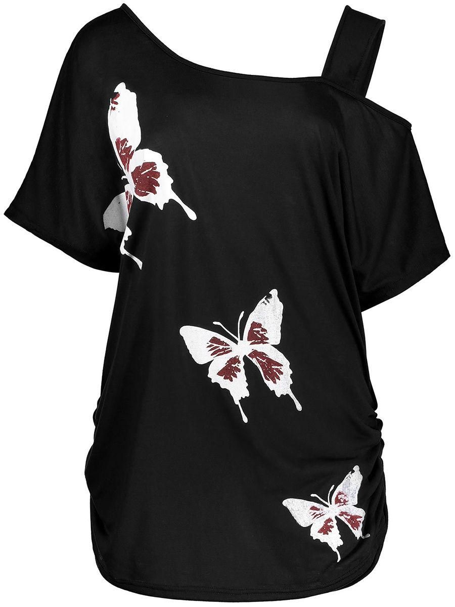 Fashionmia - Fashionmia Asymmetric Neck Cutout Butterfly Printed Short Sleeve T-Shirt - AdoreWe.com
