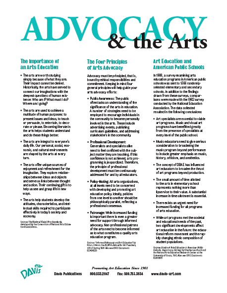 the importance of arts education the four principles of arts advocacy and art education and american public schools this is the first pdf on this page