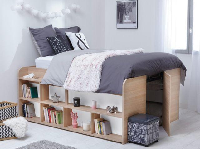 lit sureleve bois ♡   chambres   pinterest   lit surélevé, lits