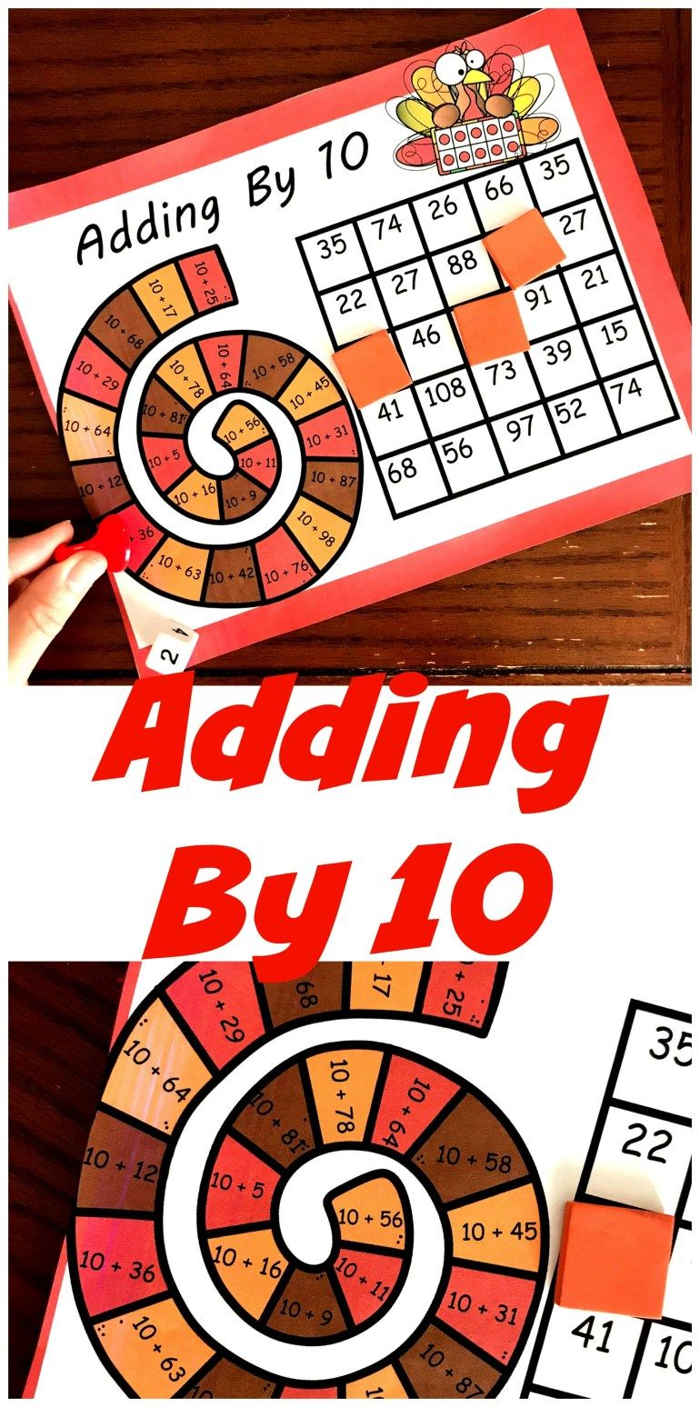 Free No Prep Turkey Themed Adding By 10 Game Fall Math Activities Easy Math Games Thanksgiving Math Free simple addition games for