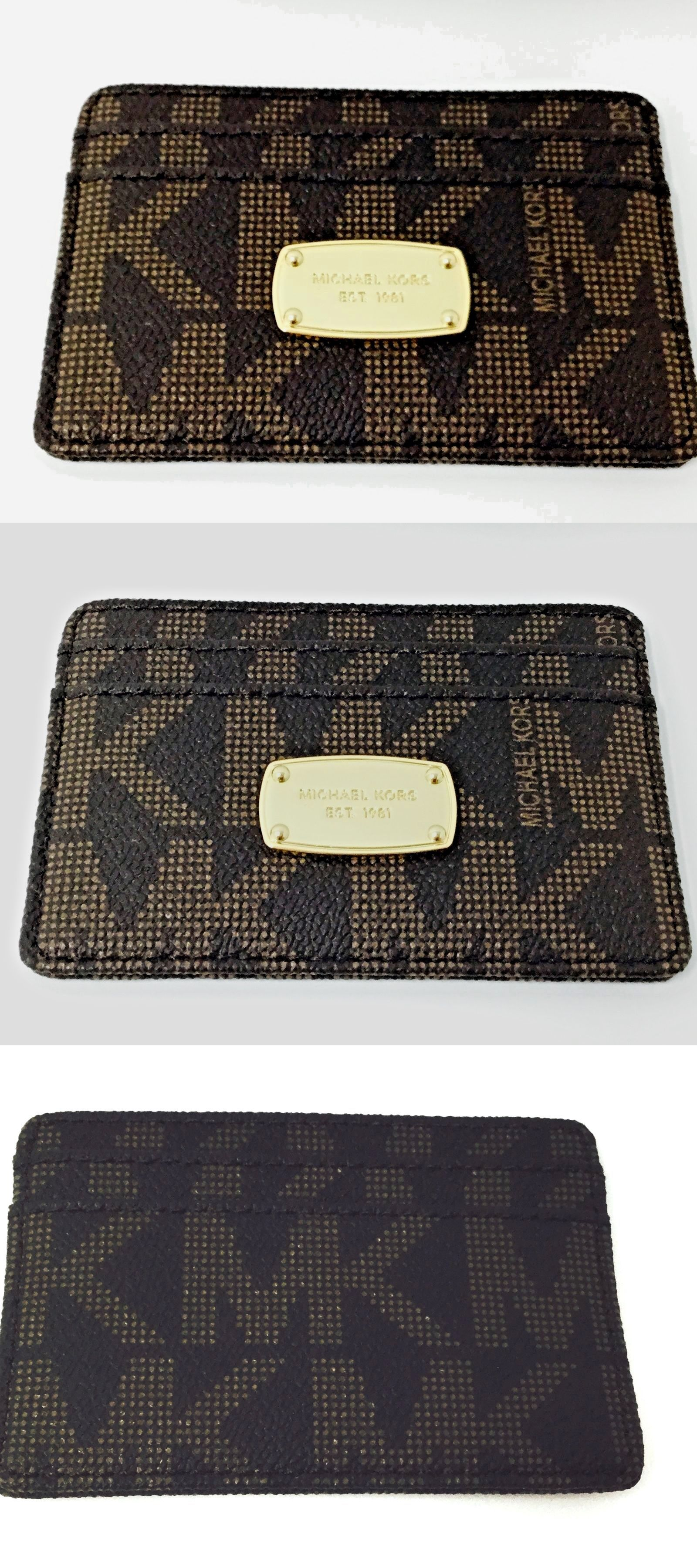 a3b050d6b878 Business and Credit Card Cases 105544  Michael Kors Jet Set Brown Mini  Skinny Travel Credit