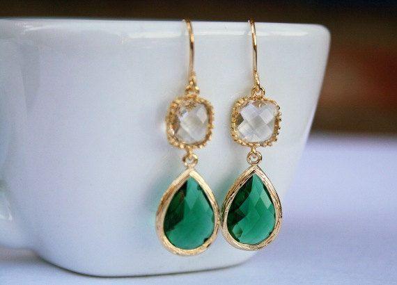 Gold Framed Emerald Green Teardrop Earrings With By Bellajewelsinc 32 00