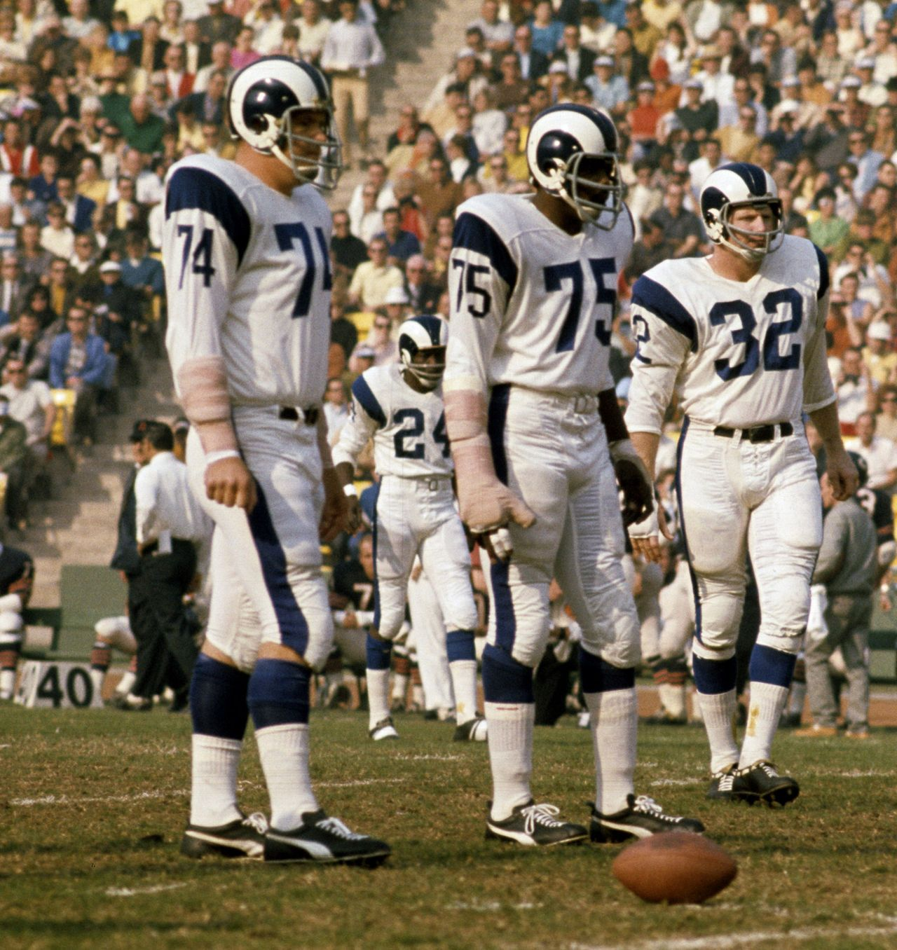 6ed94e96d Los Angeles Rams Fearsome Foursome  Merlin Olsen (74) Deacon Jones (75)  Jack Pardee (32) Clancy Williams (24).
