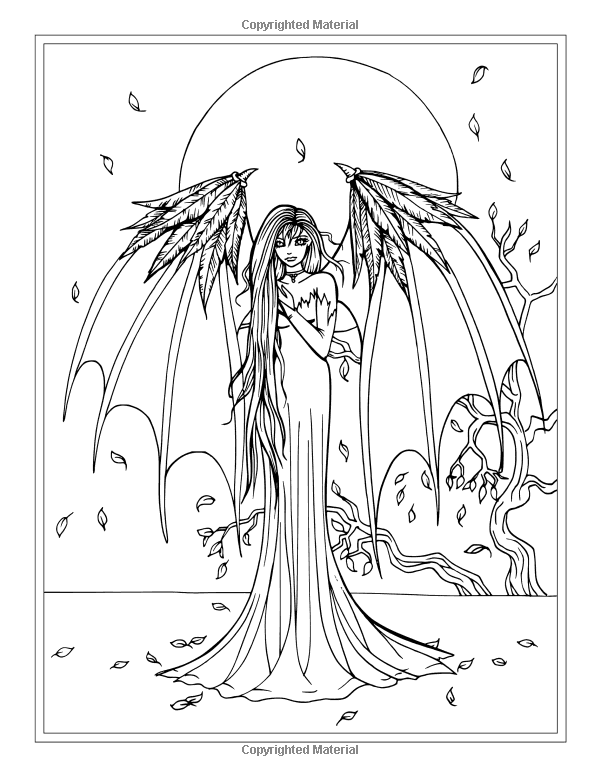 Autumn Fantasy Coloring Book Halloween Witches Vampires And Autumn Fairies Fairy Coloring Pages Fairy Coloring Coloring Pages