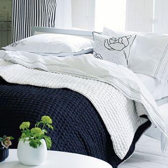 Large Chenevard Black & White Quilt design by Designers Guild