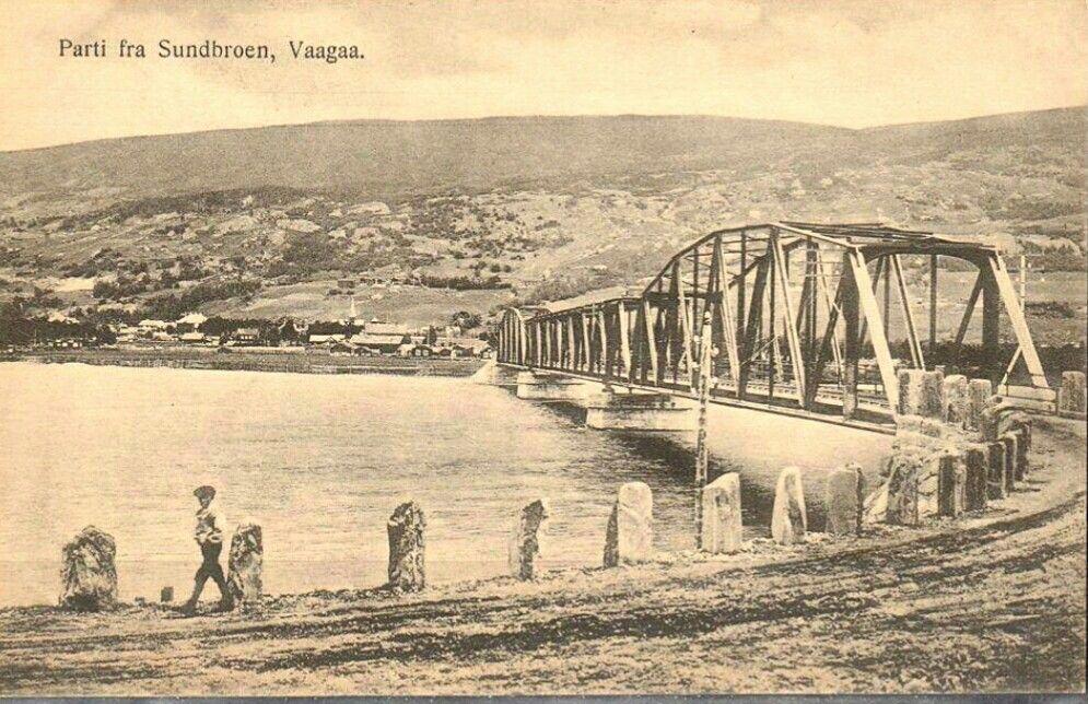 Oppland fylke Vågå kommune Sundbroen Vaagaa i Gudbrandsdalen utg G.B. Tidlig 1900-tall