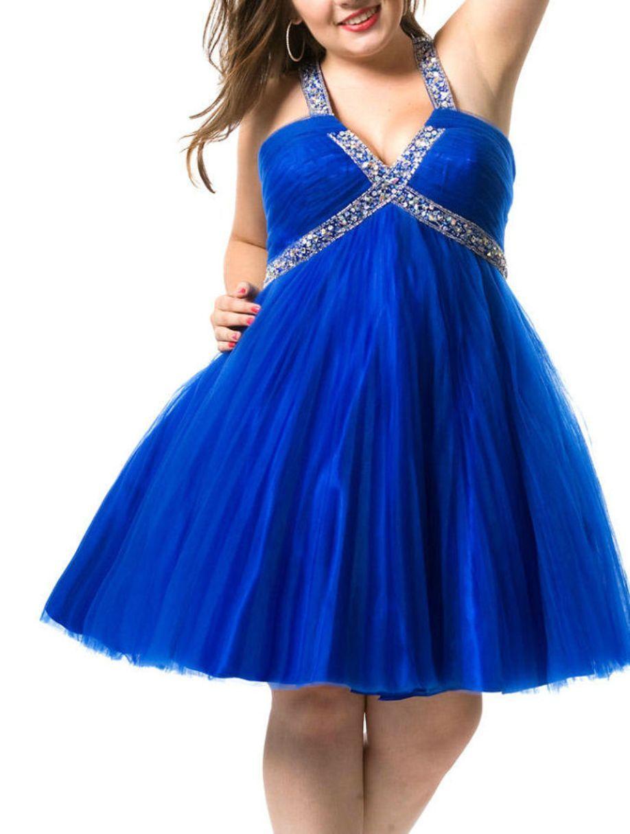6025841ae0d halter ruched v neck beading empire short royal blue cocktail dresses for plus  size women