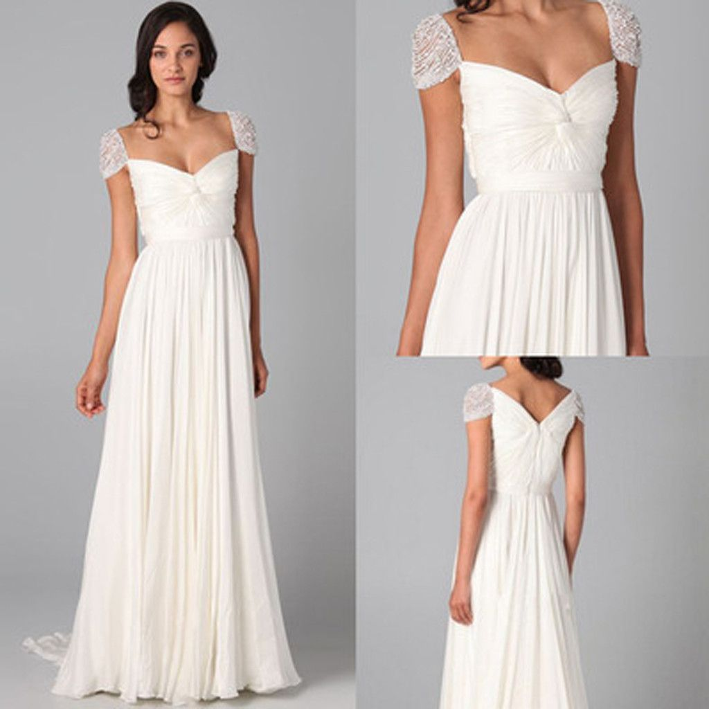 Online charming beaded cap sleeve chiffon long white dresses for online charming beaded cap sleeve chiffon long white dresses for wedding party gown wg20 ombrellifo Choice Image