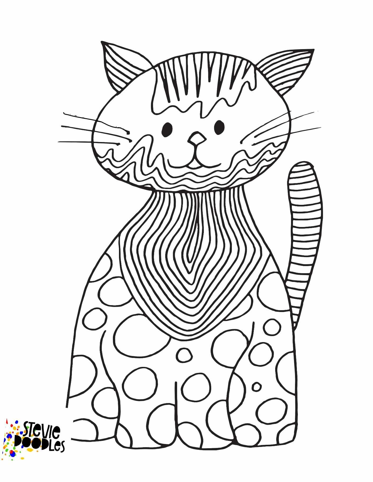 Free Cat Printable Coloring Page — Stevie Doodles in 2020
